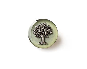 Tree Brooch, Vintage Style Tree Brooch, Green & Silver Tree Charm Brooch Pin, Retro Style, Tree Jewellery, Resin Jewellery, UK Seller