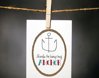 anchor card // thank you // gratitude card // appreciation // friendship card // hand drawn // hand lettered // anchor // my anchor