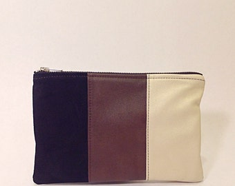 Color-block brown leather pouch