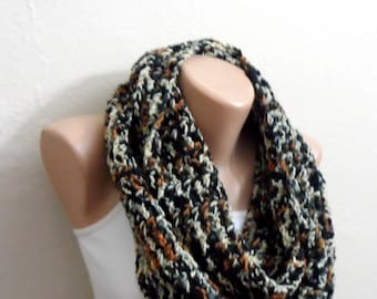 black brown white knit infinity scarf  multicolor of mealy circle scarf crochet scarf loop scarf winter scarf gift for her handmade scarf