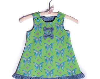 Butterfly Ruffle Dress - Toddler Dress, Baby Dress, Girls Dress, Vintage Dress, Summer Dress, Girls Outfit, Pinafore Dress