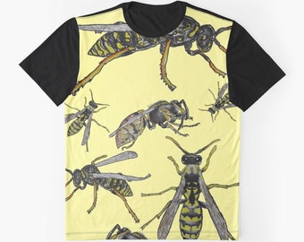 WASP Contrast T-Shirt XS S M L XL 2XL Insect Nature Art Woman Men Teen Girls Boys Unisex Clothes Clothing Tee Top