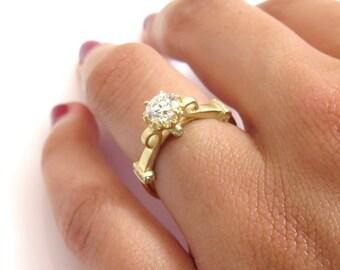 Unique engagement ring, Unique diamond engagement ring, romantic diamond ring, Round diamond engagement ring, 14k gold engagement ring