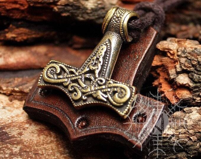 Bronze Thor's Hammer Mjolnir Viking Nordic 3D Pendant Leather Necklace BM3