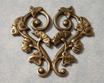 Oxidized Brass Morning Glory Heart Stamping