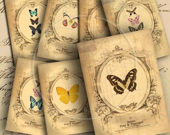 Instant Download Butterflies on Vintage Background ATC ACEO Jewelry Holders 2.5 X 3.5 inch - DigitalPerfection digital collage sheet 898