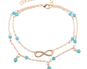 Diane Lo'ren 14KT Gold Plated Turquoise Accent Infinity Anklet