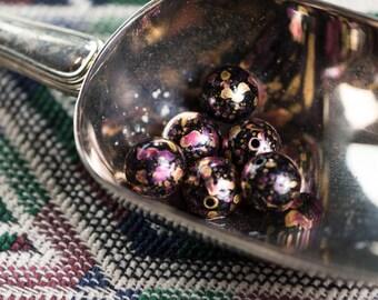 Vintage Metallic Black Pink and Gold Splatter Beads 14mm Germany bds256B