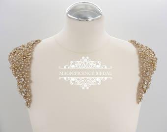 Gold dress applique, shoulder epaulettes, Bridal applique, vintage epaulettes, Champagne Beaded, bridal applique, epaulettes, MARY- SH