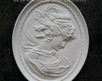 """Victorian Cameo silhouette Sculpture wall Plaque Bas relief 11"""" www.Neo-Mfg.com right face East wind"""