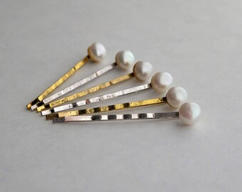 Freshwater Pearl White on a vintage - silver Bobby pin - gold plated or silver hair clip