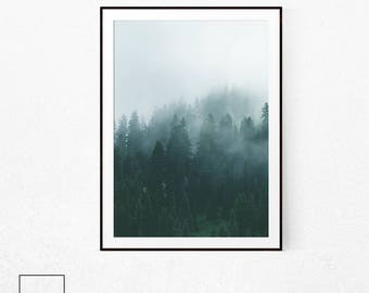 Minimalist Forest, Forest Mist, Nordic Forest, Forest Print, Forest Poster Art, Forest Poster, Forest Wall Art, Forest Photography, Forest