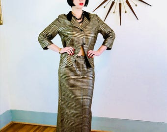 Vintage 60s Suit, Gold Metallic Suit, Skirt & Jacket Set, Womens Two Piece, 1960s Designer Suit, Velvet Collar, Houndstooth Checker, HIXONS