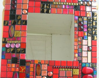 Black and Red mosaic mirror