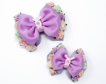 The Lost Princess - Rapunzel inspired hair bow with flower and corset detail - Small / Medium / Large hair clip,headband