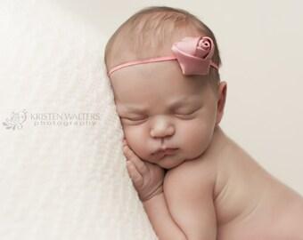 Dusty Rose Headbands, Headbands Dusty Rose, Rose Headbands, Petite Headbands, Photography Props, Baby Headbands