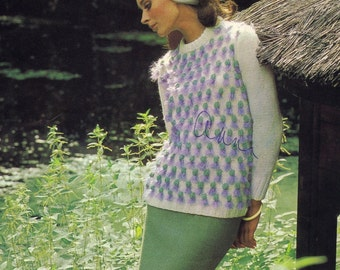Vintage Knit Pattern - PDF DOWNLOAD Vintage Knit Sweater with Thistles Pattern, 1960s Knitting Pattern, Style No. 6501 - see description