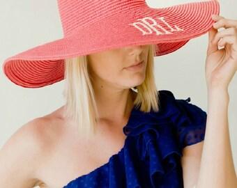 Monogram Floppy Beach Hat, Bridesmaid Gift Floppy Hat, Monogram Beach Hat, Bridesmaid Gifts, Personalized Beach Hat, Custom Floppy Hat