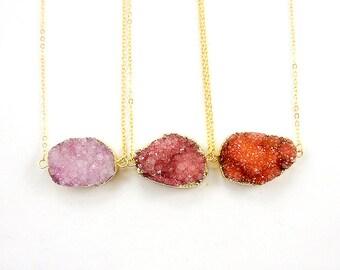 Druzy Necklace - Watermelon Pink / Orange / Light Violet - Natural Druzy Quartz Crystal Rough Cut Rock Drop Nugget Necklace - Gift Idea