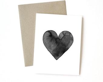 Ink Heart | Black | Card  || Greeting Card | Love Card | Anniversary Card | Shower Card | Baby Card | Wedding Card