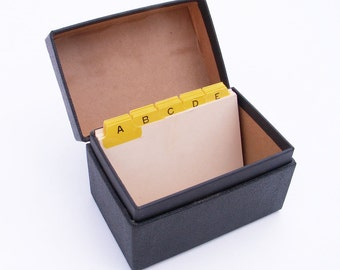 Antique Card File Recipe Box Note Card Storage
