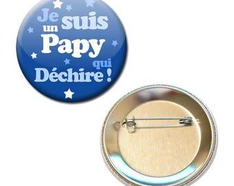 Badge 56 mm - I'm a Grandpa who tear blue family Grandpa parent child gift