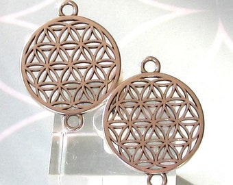 Flower Of Life Connectors, Antique Silver, 2 Pieces, AS464