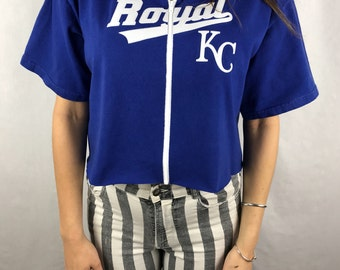 Vintage Kansas City Royals Cropped Zip-up Tee (L)