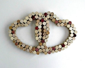 Wine Cork Heart Intertwined - Valentine's Day, Wall Decor, Weddings, Anniversary, Vineyard, Winery, Housewarming