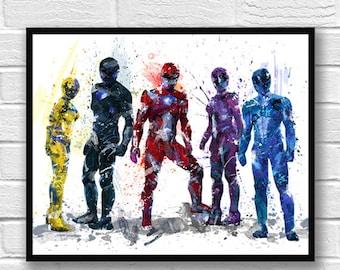 Power Rangers Watercolor Print, Superhero, Superpower, Blue, Yellow, Red, Purple, Movie Poster, Wall Art, Home Decor, Kids Room Decor - 735