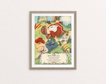 "Digital Jack and Jill nursery rhyme poster / 8"" by 10"" / downloadable, printable / vintage Mother Goose digital print / wall art/ wall decor"