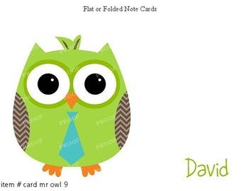 Green Blue Tie Owl Note Cards Set of 10 personalized flat or folded cards