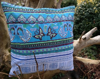 """pillow slip, deco pillow, 16""""*16"""", pillow case, cushion cover, hmong hill tribe, embroided cotton, pattern, ethnic, boho, blue, handmade"""