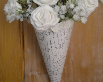 Rustic wedding heart church pew ends x1 with vintage ivory love letter pew ends 20 church pew decorations vintage pew ends wedding aisle junglespirit Images