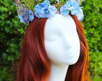 Forest Fantasy Crown,Blue, Flower Crown, Floral Crown, Butterfly Crown, Headpiece, Fairy, Renaissance, Costume