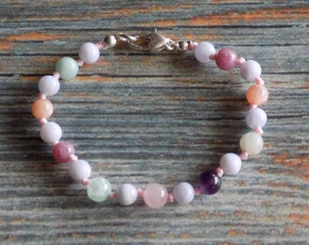 """6.5"""" PPA/PPD Support Gemstone Bracelet Knotted on Nylon with Sterling Silver Findings Healing Crystals, Infused with Intention"""