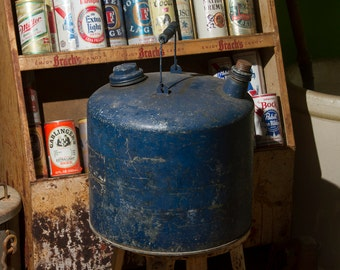 Vintage Gas Can, LARGE Blue Rustic Gas Can, Primitive Wooden Handle, Industrial Rustic Home Decor, DISTRESSED Old Kerosene Can with Caps