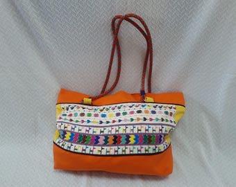 Orange and yellow beach Tote style purse
