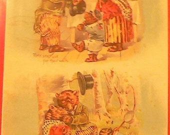 1901 Goldilocks & 3 Bears Matted Antique Print