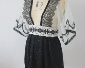 Vintage reworked black lace top/dress