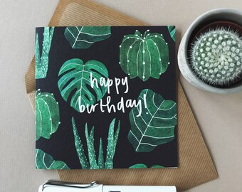 Houseplants Happy Birthday Greeting Card