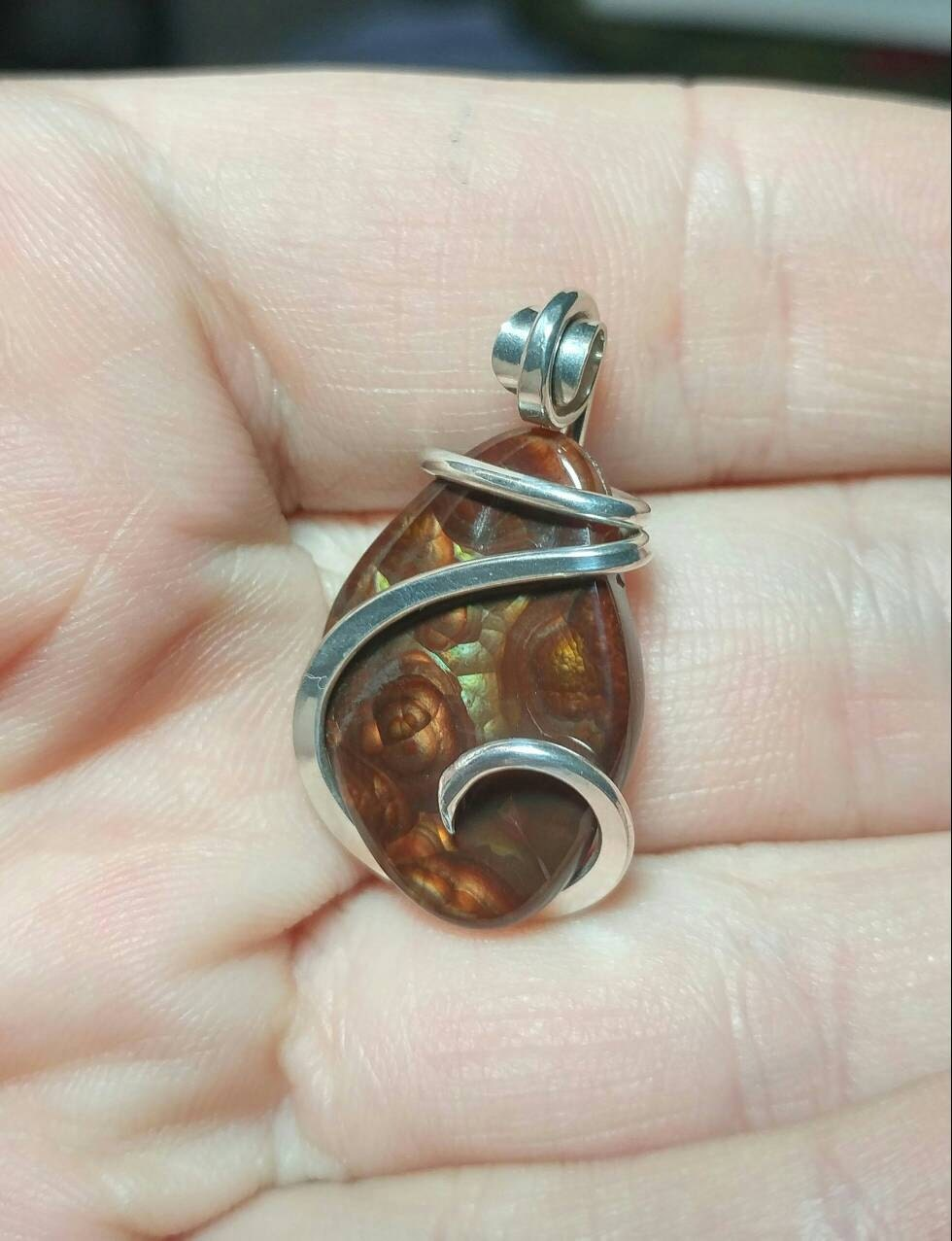 Handmade rare stone pendant mexican fire agate pendant mexican 1 aloadofball Choice Image