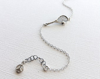 Tennis Racket Bracelet in Sterling Silver, Tennis Jewelry, Tennis Team Gift.