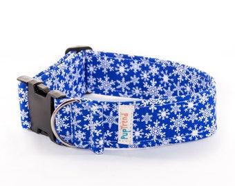 CLEARANCE! Snowflake Collar//Snowflake Dog Collars//Christmas Dog Collars//Dog Collars with Snowflakes//Designer Collars//Christmas Collar