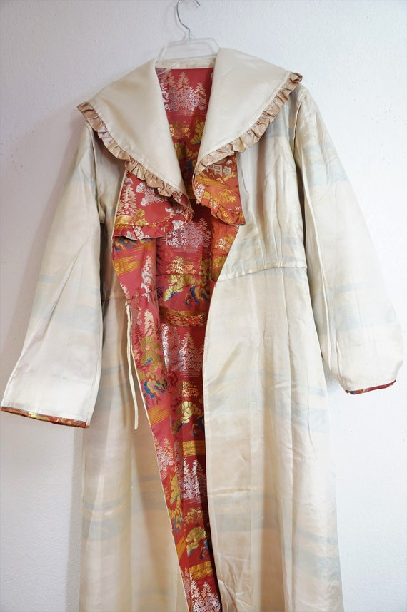 Robe Coat Hayworth Silk Silk Vng M RARE 30's Robe Embroidered Rita Vng L Couture Oriental House Chinese Silk Robe Kimono Chinese 30s qxAFXp