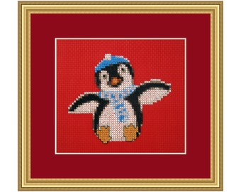 Penguin Christmas, Cross Stitch Kit easy beginner