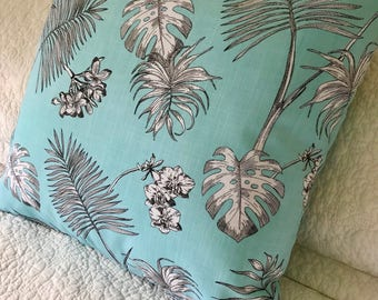 Gorgeous Topaz Palm Frond Cushion Cover - 45cm x 45 cm - Tropical Lush Aqua White Charcoal Fern