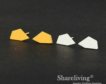4pcs (2 Pairs) Silver, Golden Pentagon Stud Earring, Nickel Free, High Quality Brass Earring Post - ED424