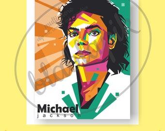 Michael Jackson Digital Painting / Colorfull Michael Jackson Poster / Jackson svg, png / pop idol / Music Legend / Vector / Art / Printable