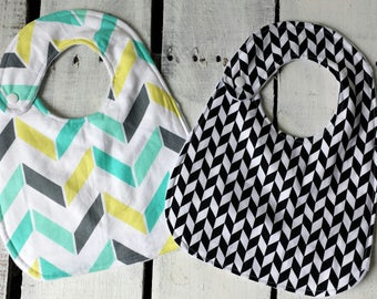 Herringbone Bib Set, Black and White Bib, Mint Bib, Chevron Bib, Baby Bib Set